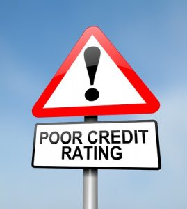 illustration depicting a red and white triangular road warning about Poor Credit Rating